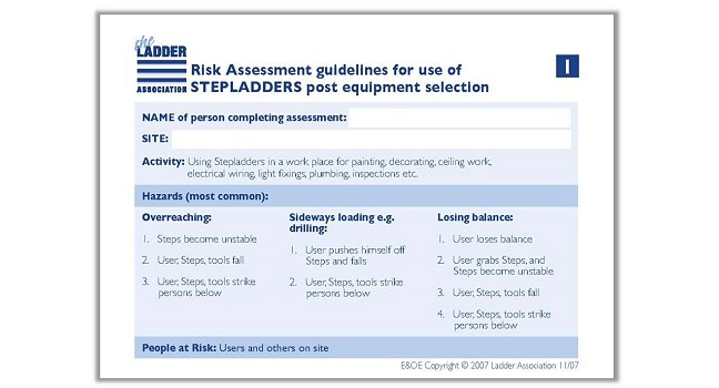 Risk assessment guide stepladder the ladder association for Step ladder risk assessment template